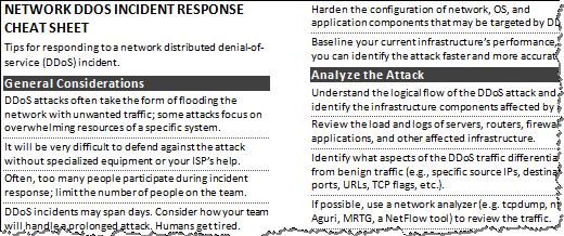 DDoS Incident Cheat Sheet Preview